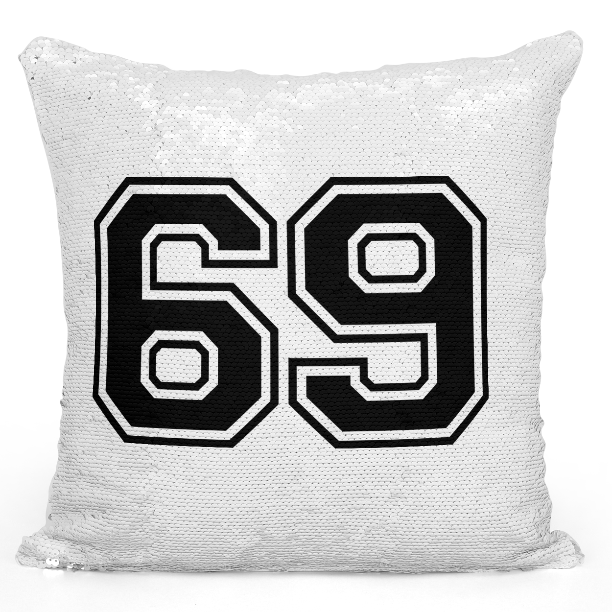 Sequin Pillow Magic Mermaid Throw Pillow Sports Pillow Team Player Number 69 In Black - Premium 100% Polyester 16 x 16 inch Square Modern Livingroom Decorative Pillow Loud Universe