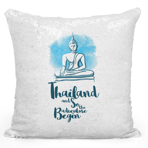 Sequin Pillow Magic Mermaid Throw Pillow Ayutthaya Thailand Famous World Destination Vacation Pillow - Premium 100% Polyester 16 x 16 inch Square Modern Livingroom Decorative Pillow Loud Universe