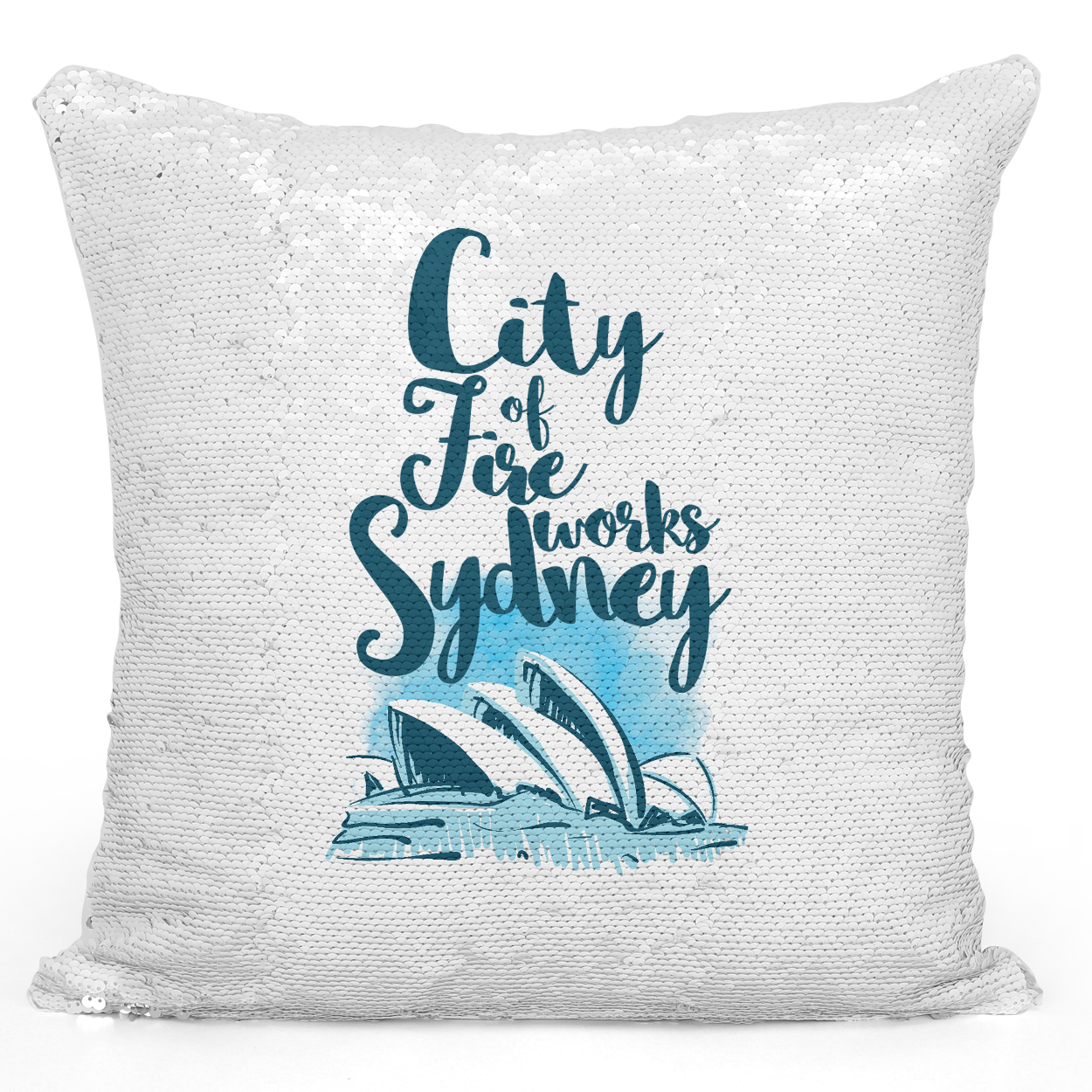 Sequin Pillow Magic Mermaid Throw Pillow Sydney Operah House Famous World Destination Vacation Pillow - Premium 100% Polyester 16 x 16 inch Square Modern Livingroom Decorative Pillow Loud Universe