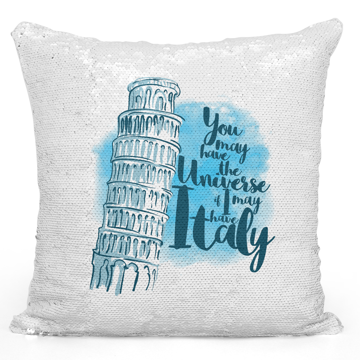 Sequin Pillow Magic Mermaid Throw Pillow Italy Tower Of Pisa Famous World Destination Vacation Pillow - Premium 100% Polyester 16 x 16 inch Square Modern Livingroom Decorative Pillow Loud Universe