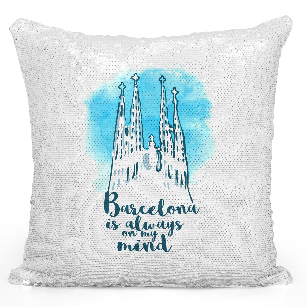 Sequin Pillow Magic Mermaid Throw Pillow Barcelona Is Always On My Mind Famous World Destination Vacation Pillow - Premium 100% Polyester 16 x 16 inch Square Modern Livingroom Decorative Pillow Loud Universe