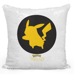 Sequin Pillow Magic Mermaid Throw Pillow Pikachu Pillow Game Pillow For Gamers - Premium 100% Polyester 16 x 16 inch Square Modern Livingroom Decorative Pillow Loud Universe