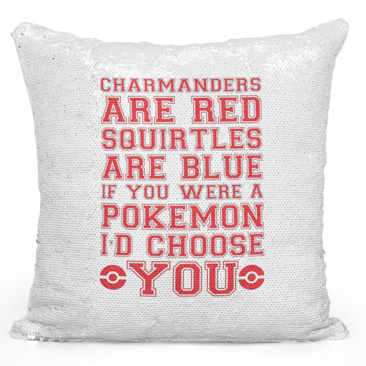 Sequin Pillow Magic Mermaid Throw Pillow Charmander Squirtle And Pokemon Love Couple Quote Couple Pillow - Premium 100% Polyester 16 x 16 inch Square Modern Livingroom Decorative Pillow Loud Universe