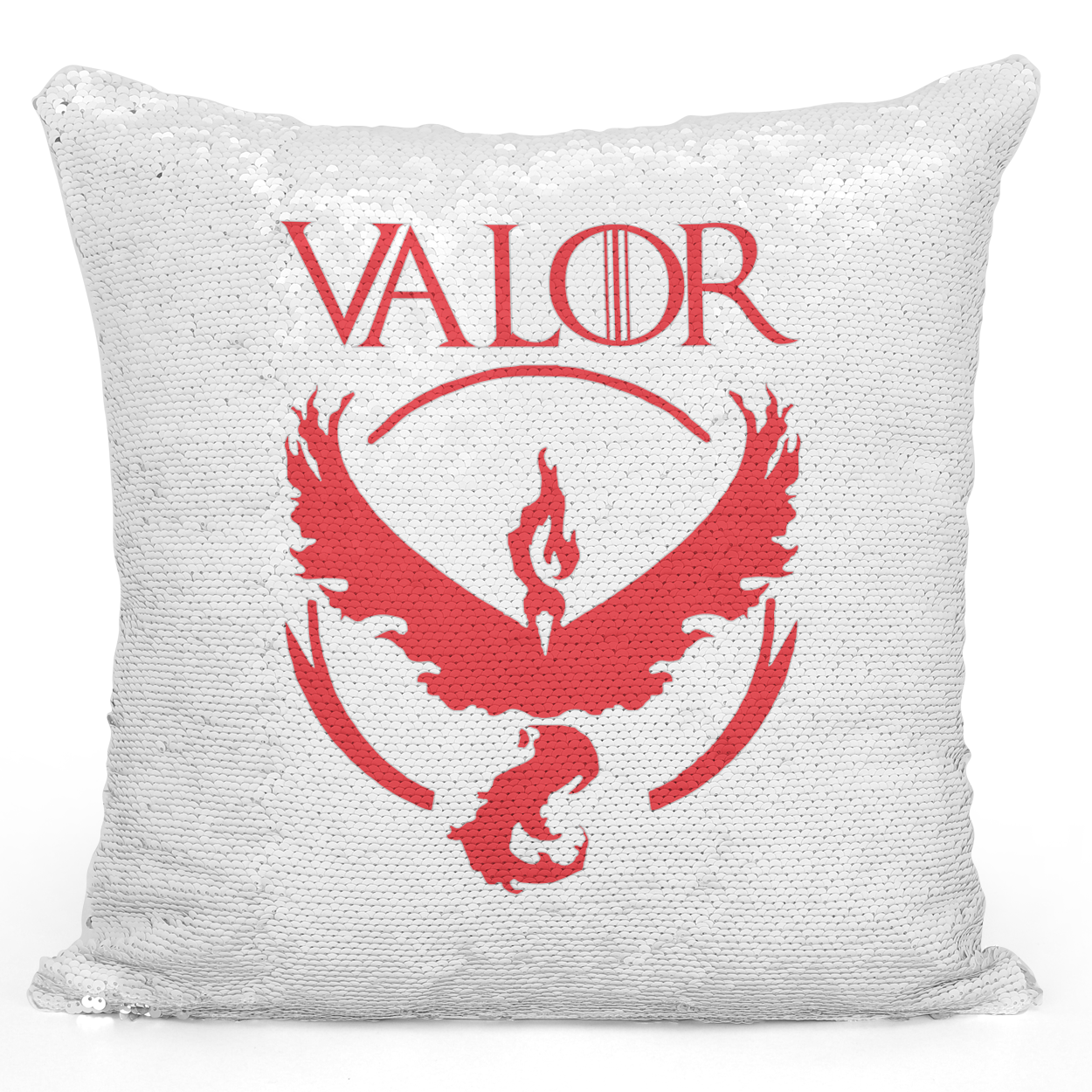 Sequin Pillow Magic Mermaid Throw Pillow Team Valor Logo Pillow - Premium 100% Polyester 16 x 16 inch Square Modern Livingroom Decorative Pillow Loud Universe