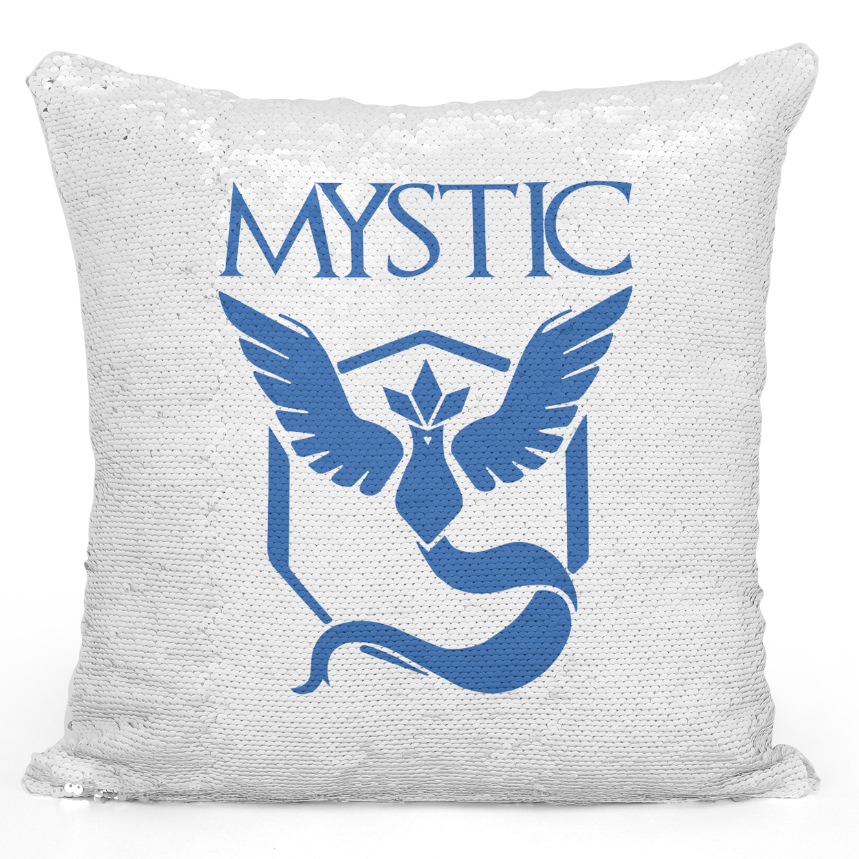 Sequin Pillow Magic Mermaid Throw Pillow Team Mystic Game Pillow - Durable White 16 x 16 inch Square Modern Livingroom Decorative Pillow Loud Universe