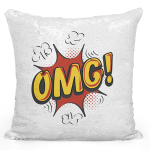Sequin Pillow Magic Mermaid Throw Pillow Omg Comic Pillow For Teens - Durable White 16 x 16 inch Square Modern Livingroom Decorative Pillow Loud Universe