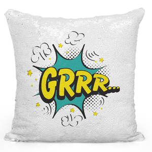 Sequin Pillow Magic Mermaid Throw Pillow Grrr Comic Style Pillow For Teens - Durable White 16 x 16 inch Square Modern Livingroom Decorative Pillow Loud Universe