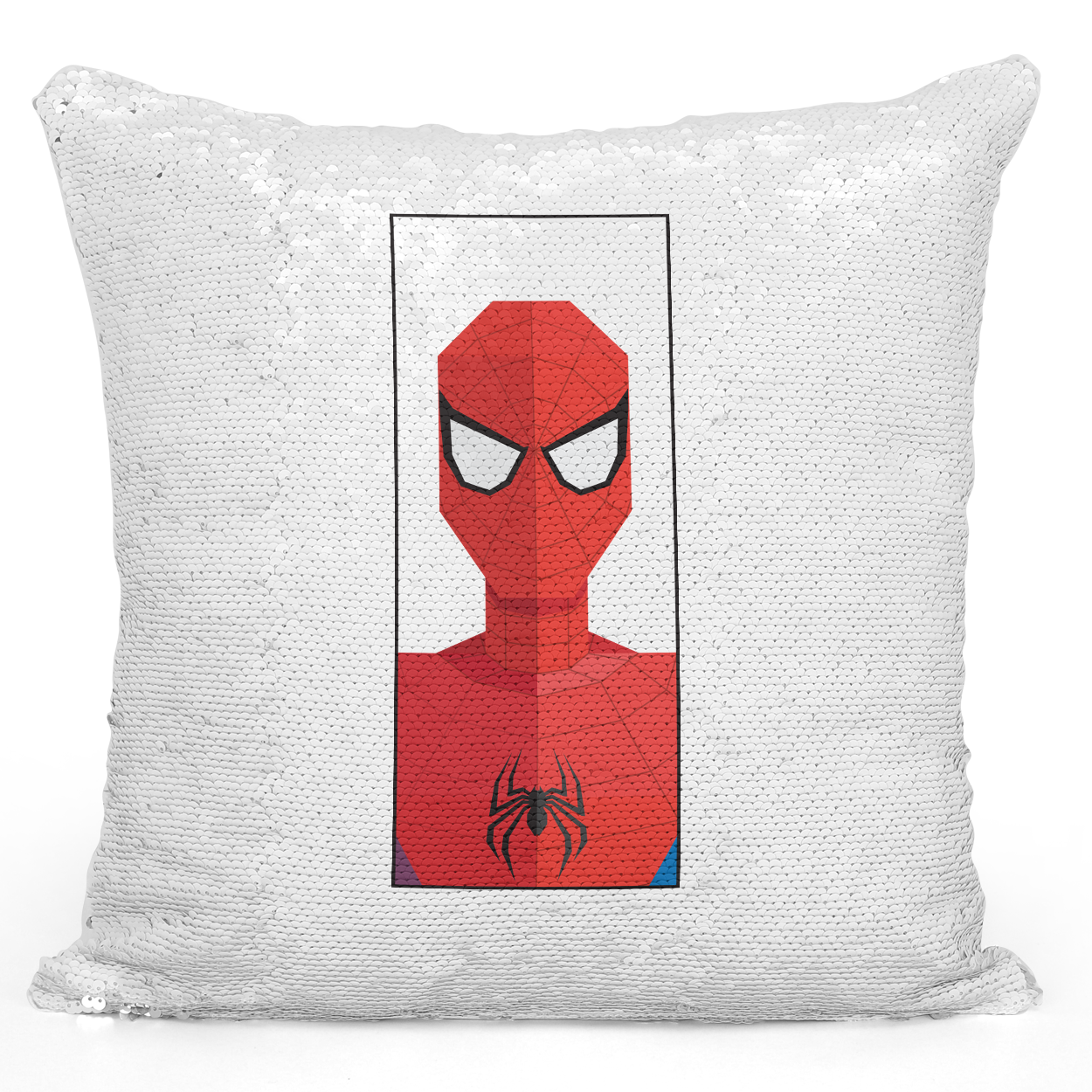 Sequin Pillow Magic Mermaid Throw Pillow Spider Man Super Hero Pillow - Durable White 16 x 16 inch Square Modern Livingroom Decorative Pillow Loud Universe