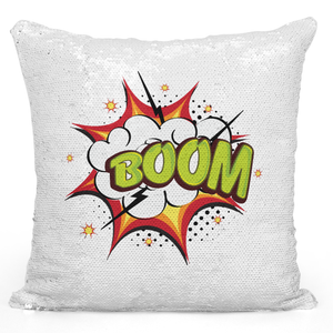 Sequin Pillow Magic Mermaid Throw Pillow Boom Funny Comic Pillow - Durable White 16 x 16 inch Square Modern Livingroom Decorative Pillow Loud Universe
