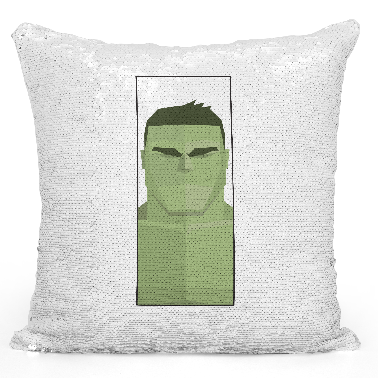 Sequin Pillow Magic Mermaid Throw Pillow Hulk Superhero Character Pillow For Teens And Kids - Durable White 16 x 16 inch Square Modern Livingroom Decorative Pillow Loud Universe