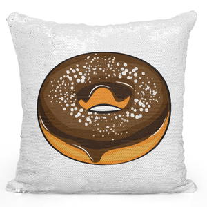 Sequin Pillow Magic Mermaid Throw Pillow Chocolate Donut Lovers - Colorful With White 16 x 16 inch Square Home Accent Pillow Sofa Cushion Loud Universe