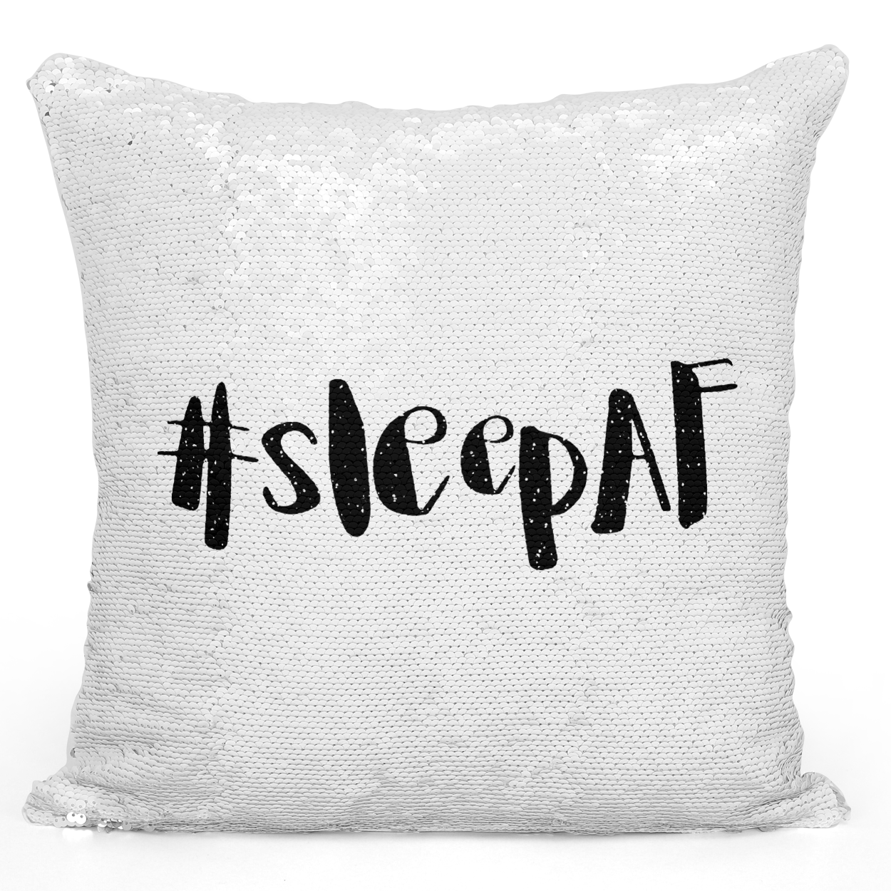 Sequin Pillow Magic Mermaid Throw Pillow Hashtag Sleep AF #Sleefaf - Colorful With White 16 x 16 inch Square Home Accent Pillow Sofa Cushion Loud Universe