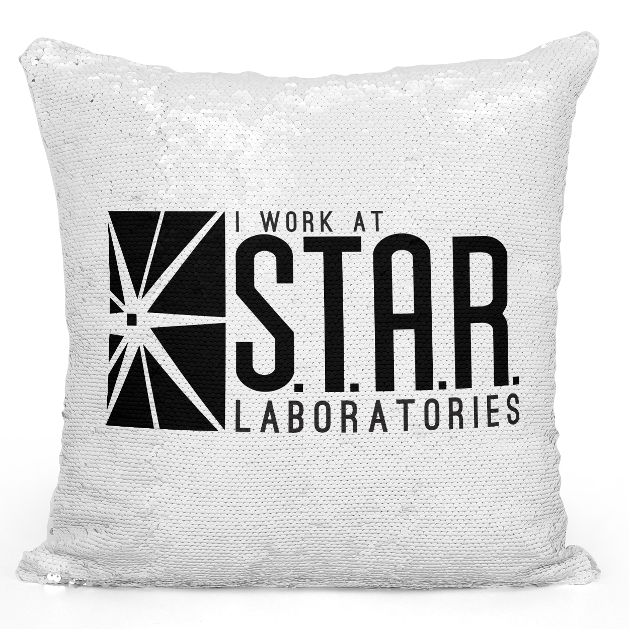 Sequin Pillow Magic Mermaid Throw Pillow i Work At Star Laboratories Pillow - Bright White Polyester 16 x 16 inch Square Unique Home Pillow Loud Universe