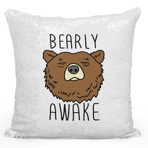 16x16 inch Sequin Throw Pillow Magic Flip Pillow Bearly Awake Grizly Bear Loud Universe
