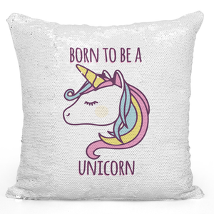 16x16 inch Sequin Throw Pillow Magic Flip Pillow Born To Be a Unicorn Colorful Pillow Loud Universe