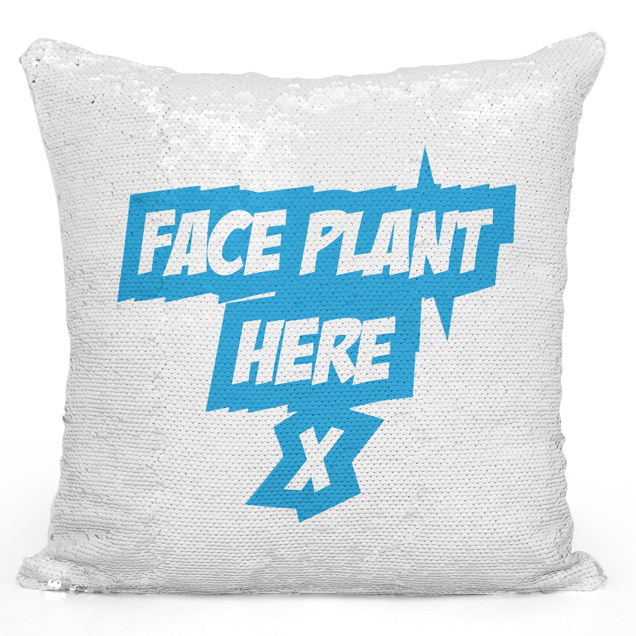 16x16 inch Sequin Throw Pillow Magic Flip Pillow Face Plant Here Funny Pillow Loud Universe