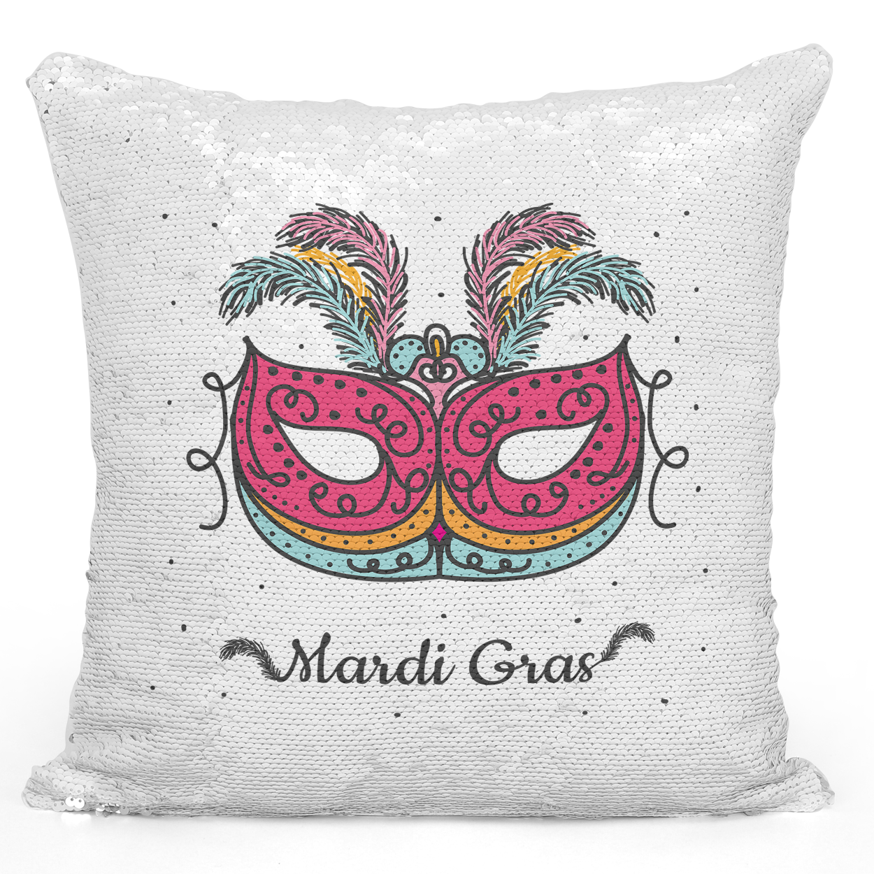 16x16 inch Sequin Throw Pillow Magic Flip Pillow Mardi Gras Festival Mask Loud Universe