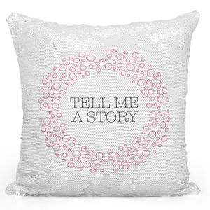 16x16 inch Sequin Throw Pillow Magic Flip Pillow Tell Me a Story Pink Girly Wreath Pillow Loud Universe