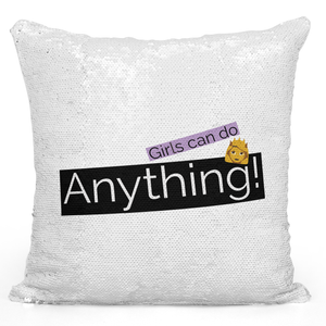 16x16 inch Sequin Throw Pillow Magic Flip Pillow Girls Can Do Anything Women Girls Motivation Self Image Pillow Loud Universe