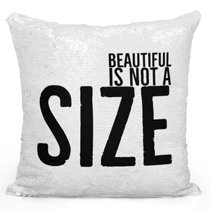 16x16 inch Sequin Throw Pillow Magic Flip Pillow Beautiful Is Not a Size Pillow With Words Loud Universe