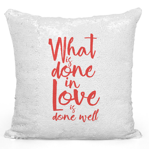 16x16 inch Sequin Throw Pillow Magic Flip Pillow Love Quote Pillow For Couples Loud Universe