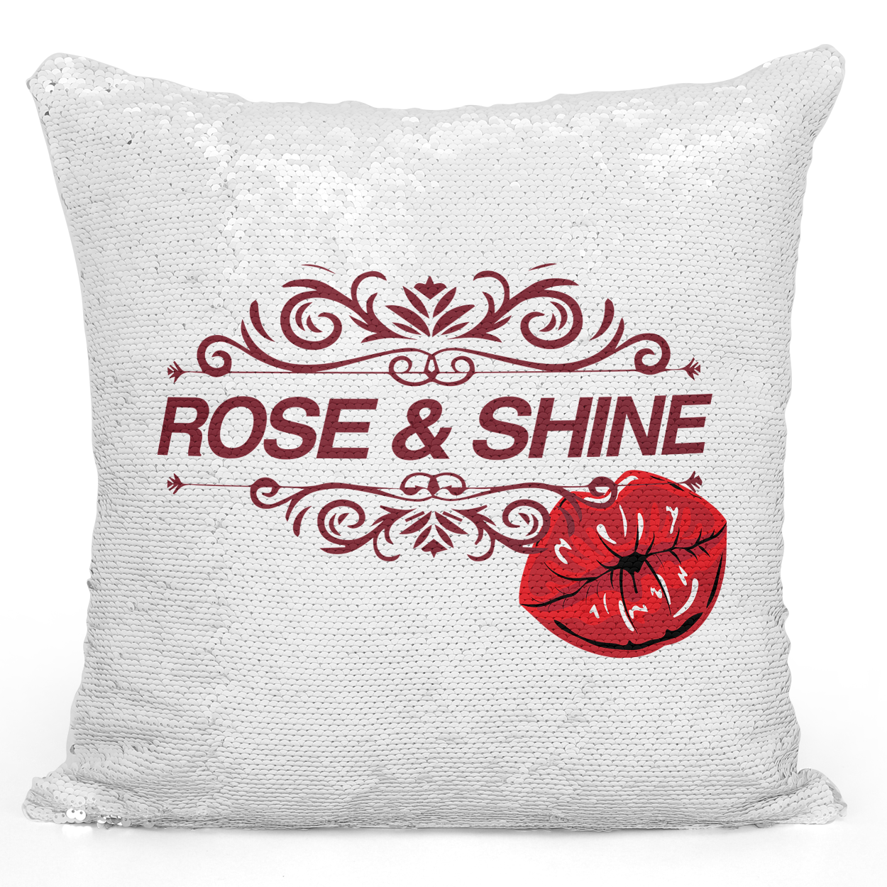 16x16 inch Sequin Throw Pillow Magic Flip Pillow Pretty Rose And Shine Kiss Red Lips Pillow Loud Universe