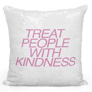16x16 inch Sequin Throw Pillow Magic Flip Pillow Treat People With Kindness Positive Advice Pillow With Words Loud Universe