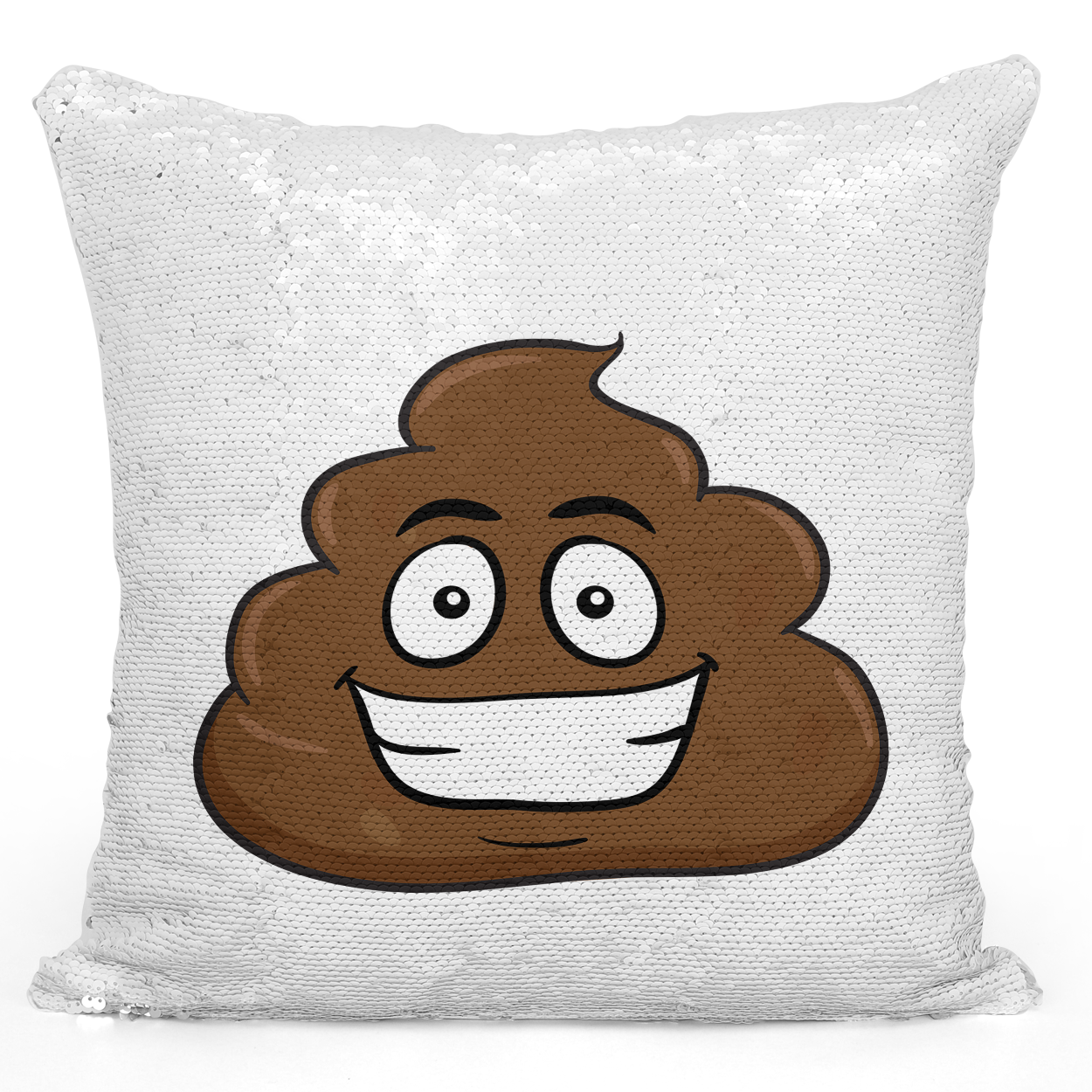 16x16 inch Sequin Throw Pillow Magic Flip Pillow Smilly Emoji Funny Poop Emoji For Friends Pillow Loud Universe