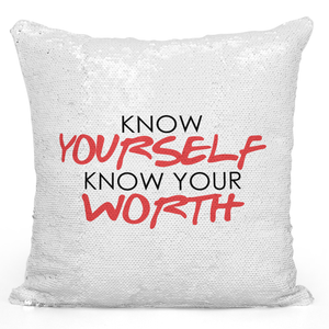 16x16 inch Sequin Throw Pillow Magic Flip Pillow Know Your Self Know Your Worth Motivational Inspirational Quote Pillow Loud Universe
