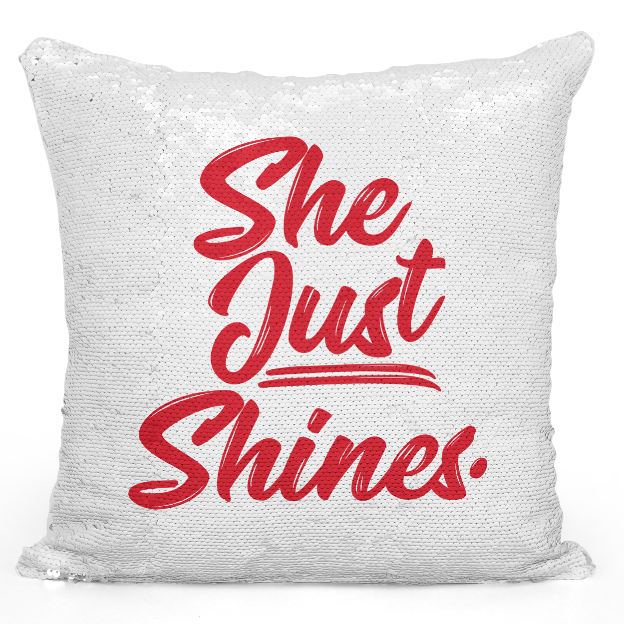 16x16 inch Sequin Throw Pillow Magic Flip Pillow She Just Shines Red Girls Females Pillow Loud Universe