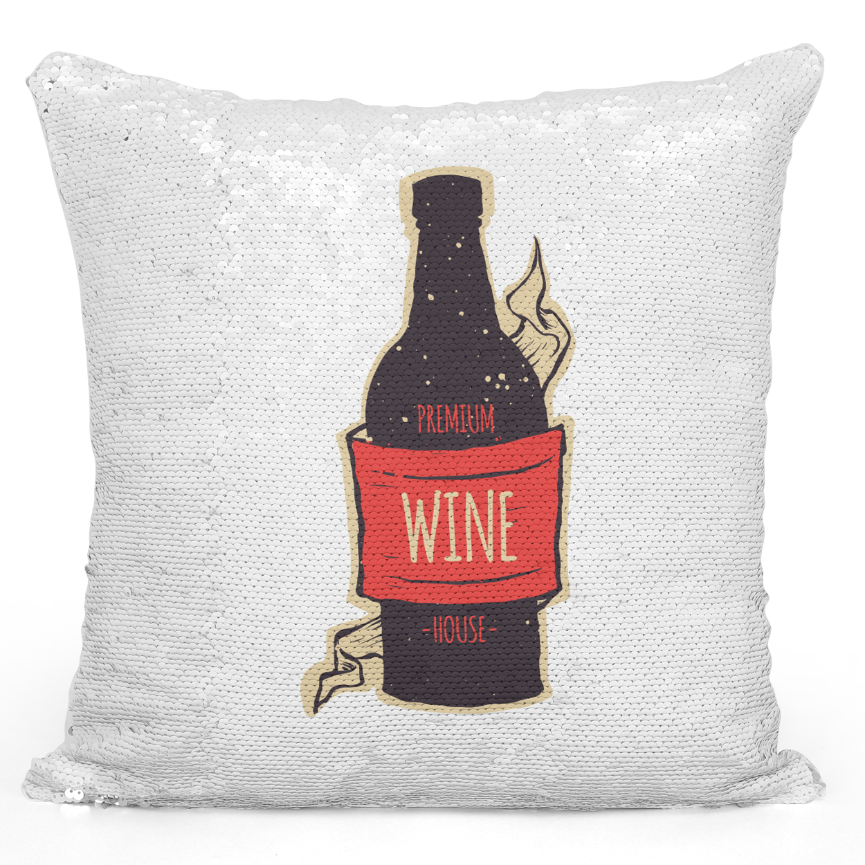 Sequin Pillow Magic Mermaid Throw Pillow Wine Bottle - Pure White Printed 16 x 16 inch Square Home Decor Couch Pillow Loud Universe