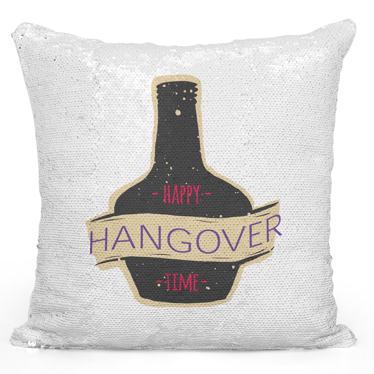 Sequin Pillow Magic Mermaid Throw Pillow Happy Hangover Time Happy Hour Bottle - Pure White Printed 16 x 16 inch Square Home Decor Couch Pillow Loud Universe