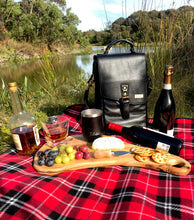 Load image into Gallery viewer, Black Insulated Genuine Leather Wine Carrier Bag & 2 Wine Tumblers. Wine Gift Cooler For Women & Men