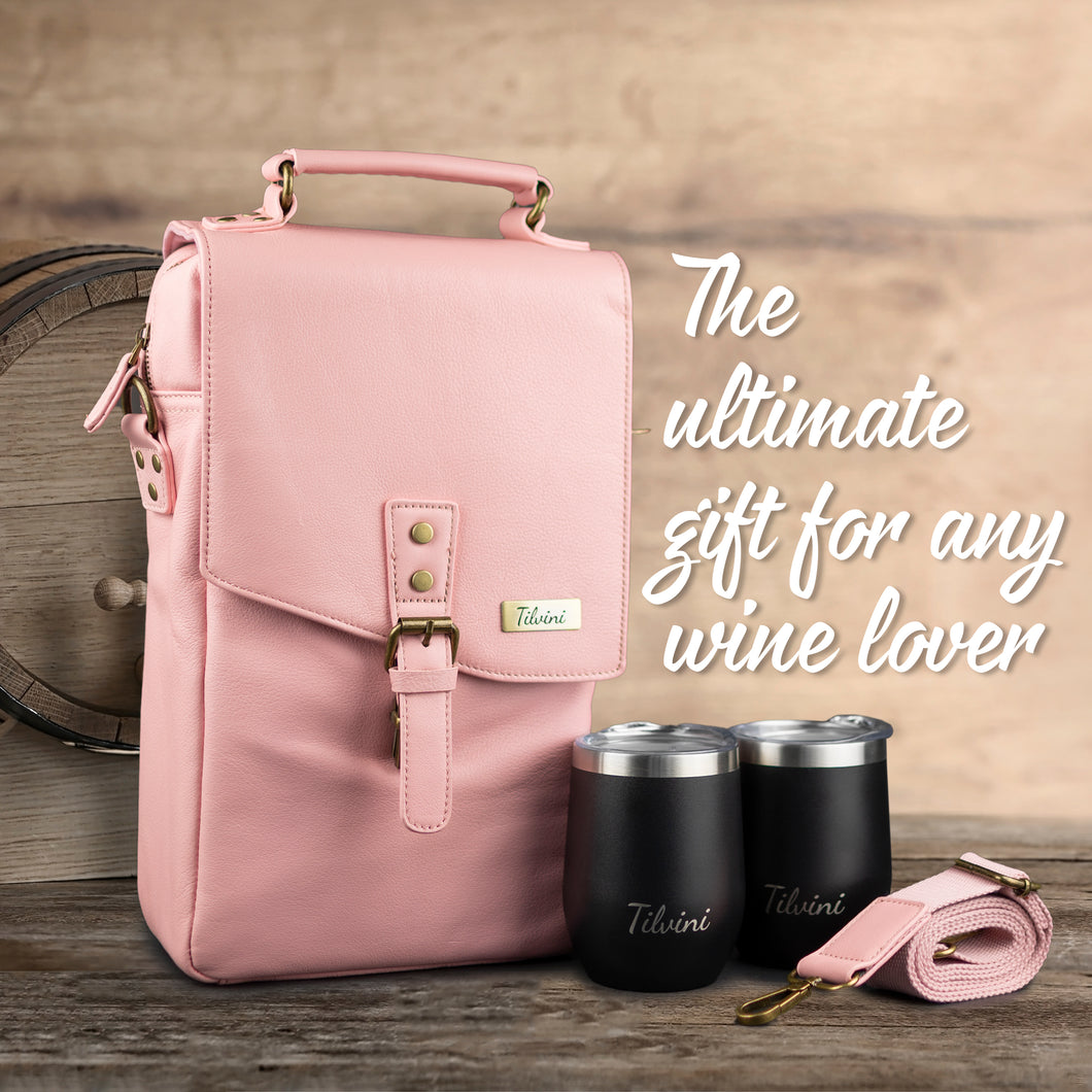 Pink Insulated Genuine Leather Wine Tote Bag & 2 Wine Tumblers. Wine Purse Wine Gift For Women