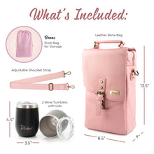 Load image into Gallery viewer, Pink Insulated Genuine Leather Wine Tote Bag & 2 Wine Tumblers. Wine Purse Wine Gift For Women