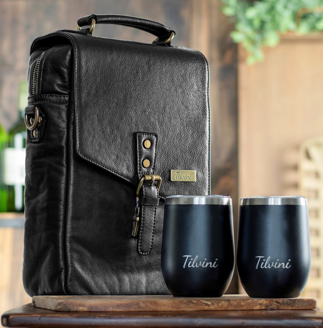 Black Insulated Genuine Leather Wine Carrier Bag & 2 Wine Tumblers. Wine Gift Cooler For Women & Men