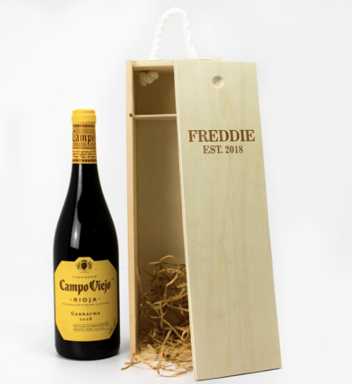 1 Bottle Personalised Wine Box - Established