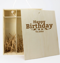 Carica l'immagine nel visualizzatore di Gallery, Rainbow Personalised Wine Box / 1 Bottle & 2 Glasses
