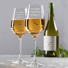 Carica l'immagine nel visualizzatore di Gallery, Personalise your 2 Glasses Engraved Swarovski® Diamanté Wine Glass Set