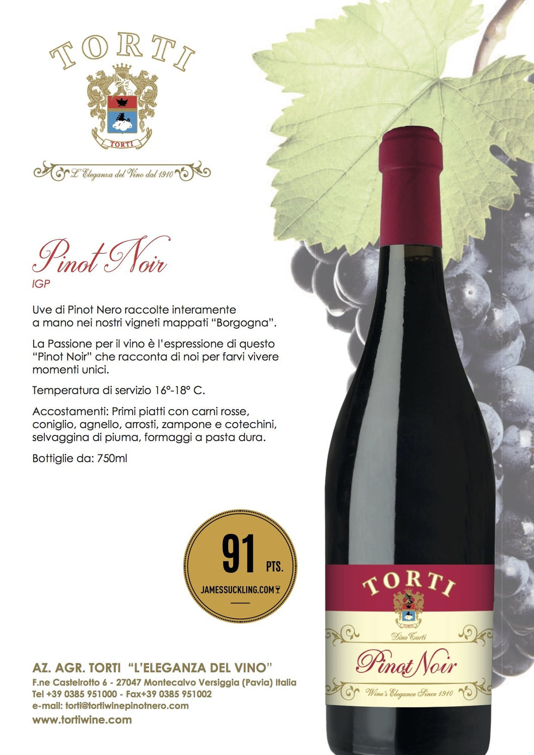 Torti PINOT NOIR James Suckling 91 punti