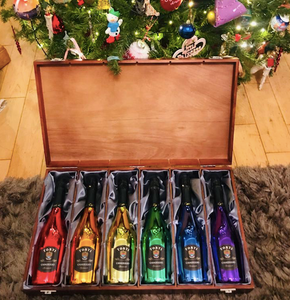 Luxury Silk Lined Wooden Gift Box & Rainbow Collection Full set 6 Bottles