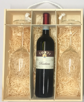 Personalised Wooden Box & Torti Barbera DOC OP Red Wine & 2 Glasses