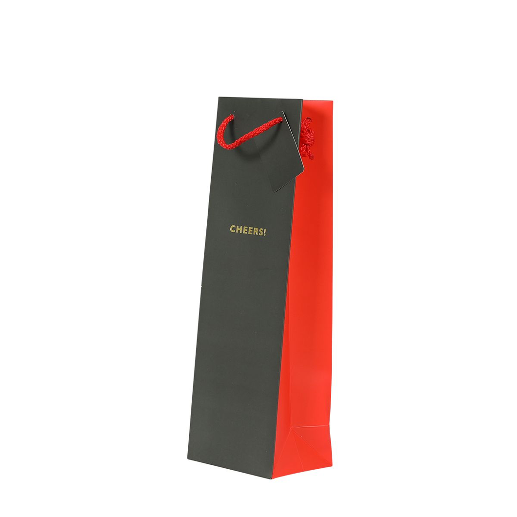 1 Bottle Gift Bag - Grey and Red Cheers