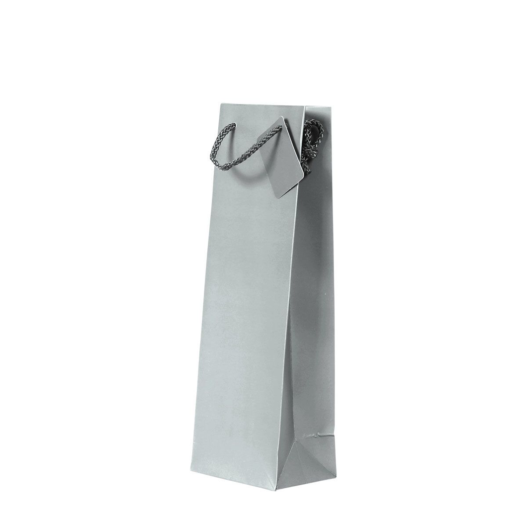 1 Bottle Gift Bag - Plain Silver