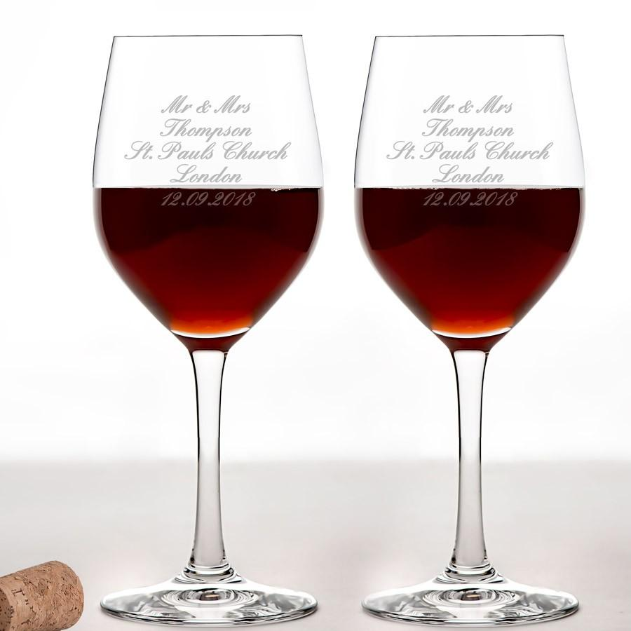 2 Personalised Wine Glasses - Any Message