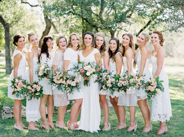 Fine art film wedding photo of a bride and bridesmaids by Jen Dillender.