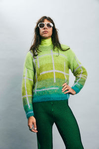 Ombré check mohair hand knit sweater - Aqua/Chartreuse