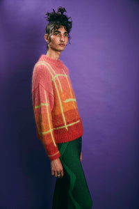 Ombré check mohair hand knit sweater - Pink/Orange