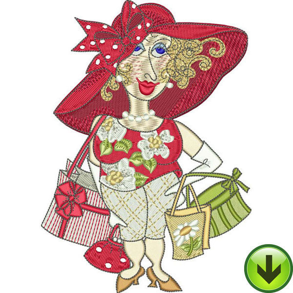 Serious Shopper Embroidery Design | DOWNLOAD