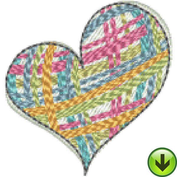 Petal Power Plaid Heart Embroidery Design | DOWNLOAD